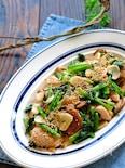鶏肉と小松菜と椎茸の旨味噌にんにくマヨ炒め