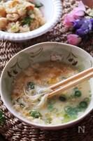 レンジで4分♡ふんわり美味しいかき卵と春雨の簡単スープ