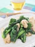 菜の花と鶏肉のわさび醤油炒め