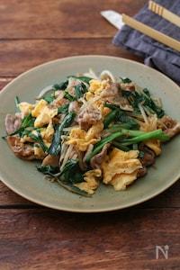 豚ニラ卵炒め。