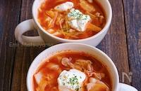 ケチャップでお手軽ボルシチ気分!豚キャベえのきのトマトスープ