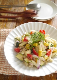 『夏野菜とツナのペンネサラダディル風味』