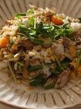鯵と豆苗の混ぜご飯