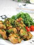 柿安風・鶏の唐揚げ、ネギだく餡。