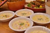 とうもろこしと押麦の豆乳美肌スープ