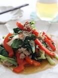 小松菜と豚ひき肉のオイスター炒め