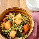 厚揚げと水菜とワカメの韓国風サラダ