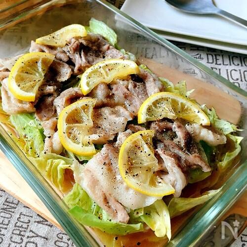 春キャベツと豚バラ肉の重ね蒸し(レモン風味)