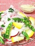 胡麻ドレッシングde新玉ねぎと彩り野菜のサラダ