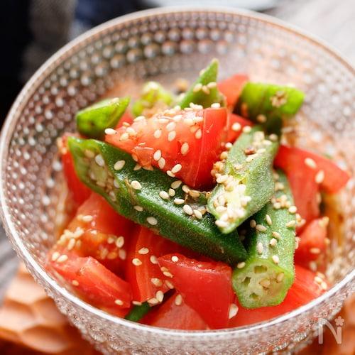 トマトとオクラのごまおかかサラダ【#作り置き#レンジ】
