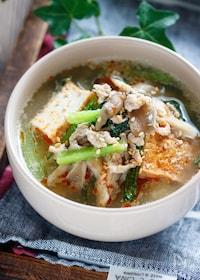 『厚揚げと小松菜と舞茸のごま味噌スープ【#包丁不要】』