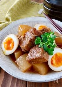 『圧力鍋で*豚の角煮(豚バラ大根味付き卵)』