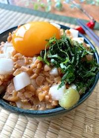 『〝長芋と納豆の白だし漬けたまご丼〟漬けて混ぜてのせるだけ』