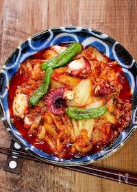 『ピリッと美味しい「たこキムチ炒め」』
