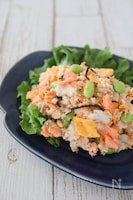 里芋と鮭の塩昆布サラダ