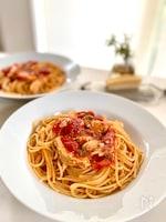 めかじきのトマトソースパスタ