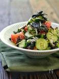 *きゅうりとトマトとしらすと海苔の塩昆布サラダ*