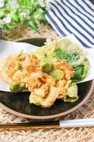 彩り天ぷら♪そら豆と新玉ねぎとホタテのかき揚げ!