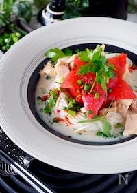 『【簡単5分で完成】丸ごとトマトとツナの混ぜるだけタンタン素麺』