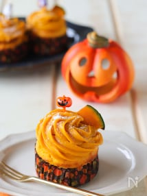 子どもと作る♪米粉のかぼちゃモンブランマフィン~ハロウィン~