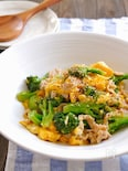 ブロッコリーと豚バラと卵の旨塩中華とろみ炒め