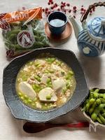 トロトロ絹豆腐と枝豆のそぼろあん