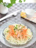 にんじんスライスとささみのサラダうどん☆豆腐ドレッシング