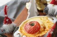 レンジ&トースターでクラムチャウダーリゾットのトマトファルシ