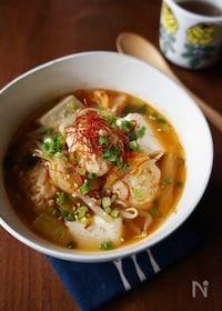 『ふわふわ鶏団子とキムチのピリ辛スープ』