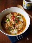 ふわふわ鶏団子とキムチのピリ辛スープ