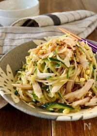 『サラダチキンと豆もやしときゅうりの中華風サラダ』