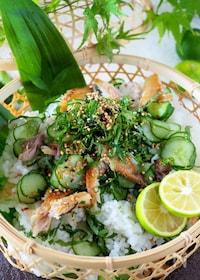 『【すし酢の黄金比】鯵1枚あれば!!アジときゅうりのちらし寿司』