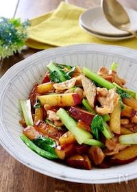 『さつま芋と小松菜と豚バラの甘辛炒め』