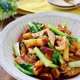 さつま芋と小松菜と豚バラの甘辛炒め
