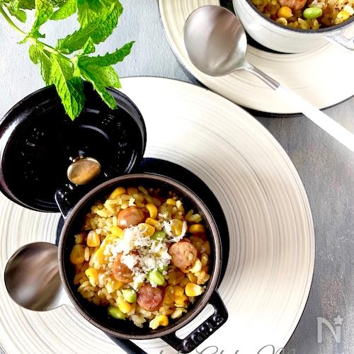 とうもろこしとソーセージの簡単炊き込みピラフ#炊飯器#お弁当