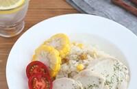 炊飯器で同時調理!とうもろこしと鶏むね肉のバターライス