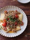 豆腐ステーキのピリ辛トマトそぼろのせ。