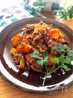 子供も喜ぶ美味しい組み合わせ♡牛肉とかぼちゃのオイケチャ炒め