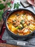 豚ひき肉と小松菜のチゲ風おかずスープ【#簡単 #包丁不要 】