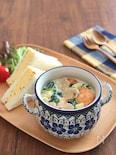 食べるスープ♪ほうれん草とサーモンのクリームスープパスタ