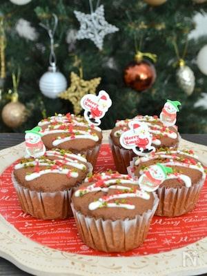 簡単クリスマススイーツ、バター不使用米粉のココアマフィン