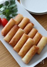 『揚げずにパリパリ!一口おつまみ♡カニカマとチーズのミニ春巻き』