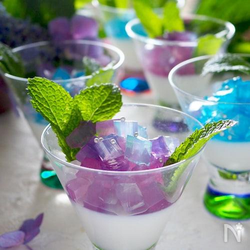 きらきら光る紫陽花ゼリー♡何色の紫陽花にしようかな?