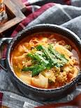 豚バラ白菜と豆腐のチゲ風おかずスープ【#簡単 #包丁不要】