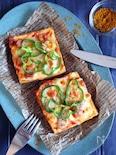 ヘルシーだけど大満足♡厚揚げの簡単ピザ(カレー風味)