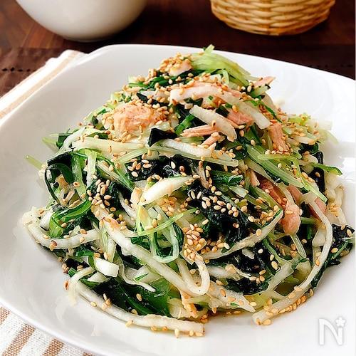 おかずサラダ*水菜と大根とツナのナムル