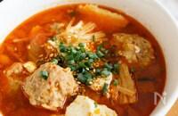『肉団子入りキムチスープ』ひき肉の旨みたっぷり!具だくさん♪
