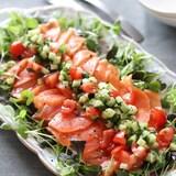 お野菜もモリモリ♡サーモンのカルパッチョラビゴットソース