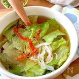 レンチンしてお湯注ぐだけ‼︎【レタスとカニカマのスープ】