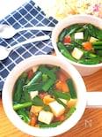 さっぱりめちゃ旨♡ふわふわ豆腐とにらトマトのヘルシースープ